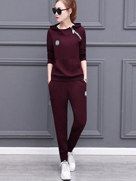 Ericdress Long Sleeve Patchwork Zipper Hoodie Pants Suit
