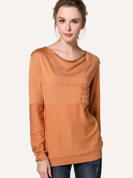 Ericdress Solid Color Round Neck Casual Knitwear