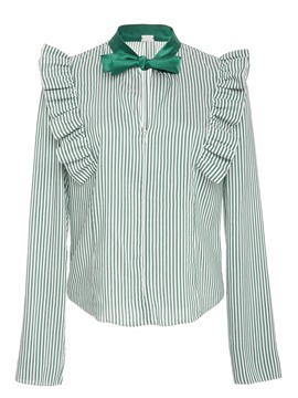 Ericdress Green Fine Stripe Falbala Blouse