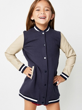 Ericdress Color Block Stand Collar Single-Breasted Girls Outerwear