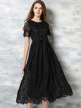 Ericdress Hollow Round Collar High-Waist Lace Dress