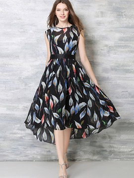 Ericdress Plant Print Belt Patchwork Pleated Maxi Dress