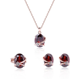 Ericdress Red Oval Crystal Inlaid Three-Pieces Jewelry Set