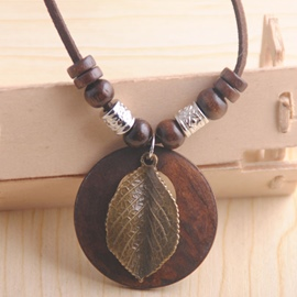 Ericdress Alloy Leaf & Wooden Circular Pendant Necklace