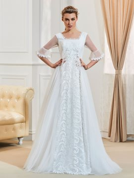 Ericdress Fancy Square Neckline Half Sleeves A Line Wedding Dress