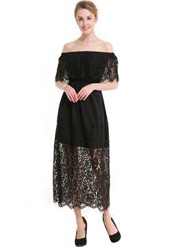 Ericdress Slash Neck See-Through Expansion Maxi Dress