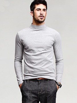 Ericdress Solid Color Turtle Neck Slim Men's T-Shirt