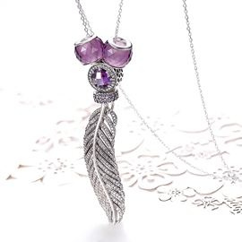 Ericdress Feather Shaped Diamante 925 Silver Necklace