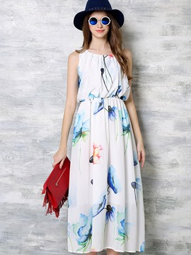 Ericdress Sleeveless Plant Print Patchwork Pleated Maxi Dress