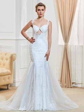 Ericdress Sexy Spaghetti Straps Backless Mermaid Lace Wedding Dress