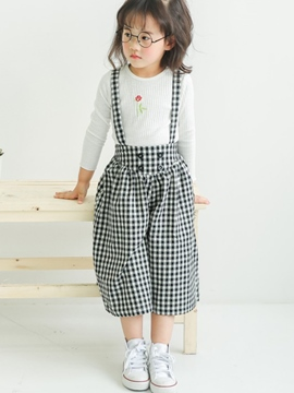 Ericdress Plaid Suspenders Button Girls Pants