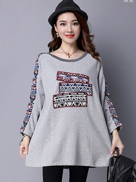 Ericdress Long-Sleeve Geometric T-Shirt