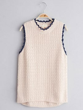 Ericdress Plain Sleeveless Round Neck Girls Sweater