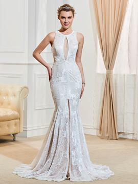 Ericdress Sexy Jewel Backless Lace Mermaid Wedding Dress