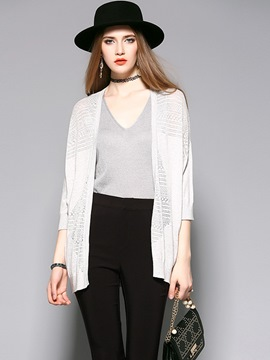 Ericdress Solid Color Casual Cardigan Loose Knitwear