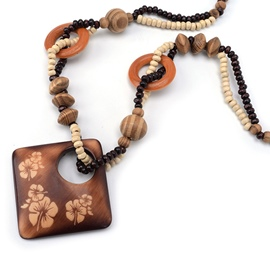 Ericdress Brown Geometry Wooden Long Beaded Necklace
