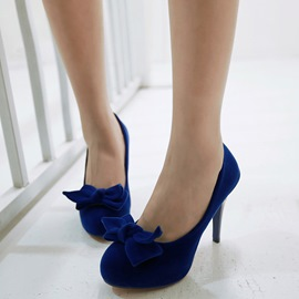 Ericdress Suede Platform Bowtie Decorated Pumps