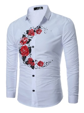 Ericdress Flower Print Simple Casual Men's Shirt