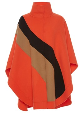Ericdress Color Block Stand Collar Loose Cape