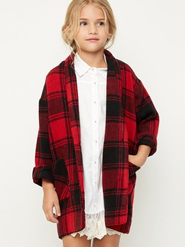 Ericdress Plaid Lapel One Button Girls Outerwear