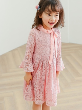 Ericdress Lace Flare Sleeve Hollow Plain Girls Dress