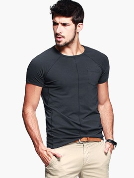 Ericdress Solid Color Patchwork Slim Casual Men's T-Shirt