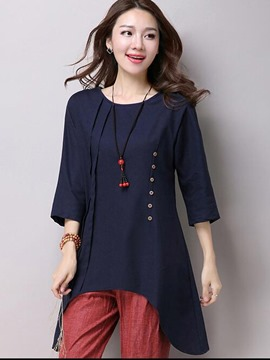 Ericdress Casual Slim Solid Color Blouse