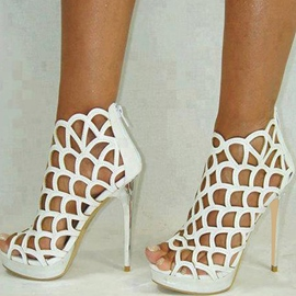 Ericdress Roman White Cut Out Platform Stiletto Sandals