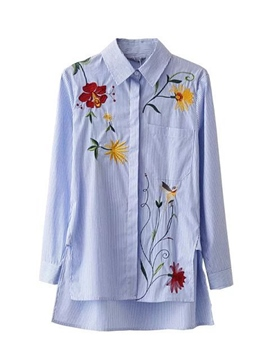 Ericdress Fine Blue Stripe Floral Embroidery Blouse