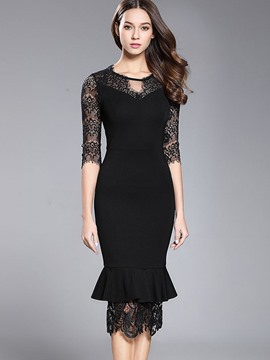 Ericdress See-Through Patchwork Mermaid Sheath Dress