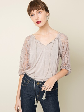 Ericdress Plain Lace Hollow Blouse