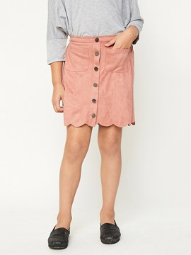 Ericdress Plain Button High-Waist A-Line Mini Skirt