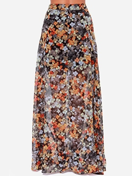 Ericdress Retro Floral Print Floor-Length Skirt