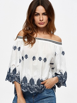 Ericdress Slash Neck Flare Sleeve Blouse