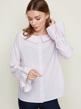Ericdress Stripe Peter Pan Collar Blouse