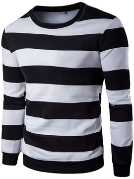 Ericdress Large Size Color Block Wide Stripe Men's Hoodie