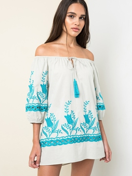 Ericdress Slash Neck Lantern Sleeve Blouse