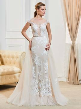 Ericdress Fancy Illusion Neckline Cap Sleeves Appliques Mermaid Wedding Dress