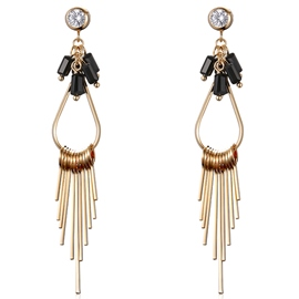 Ericdress Long Golden Tassels Diamante Women's Earrings