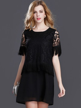 Ericdress Solid Color See-Through Tassel Casual Dress