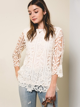 Ericdress Lace Petal Sleeve White Blouse