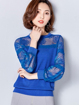 Ericdress Floral Lace Patchwork Blouse