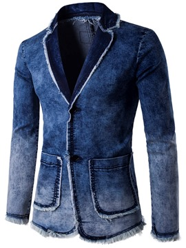 Ericdress Single-Breasted Denim Pocket Casual Men's Blazer