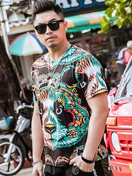 Ericdress Plus Size Print Unique Casual Men's T-Shirt