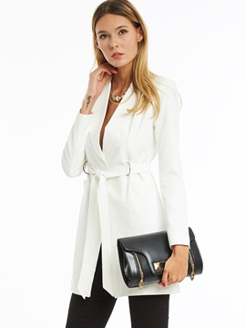 Ericdress Solid Color Lace-Up Slim Blazer