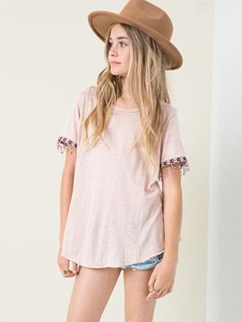 Ericdress Tassel Hollow Scoop Short Sleeve Girls T-Shirt