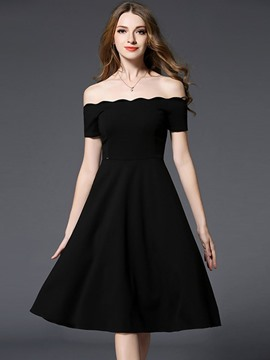 Ericdress Slash Neck Wave Cut Backless A Line Dress
