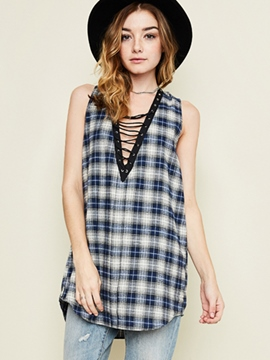 Ericdress V-Neck Plaid Sleeveless Blouse