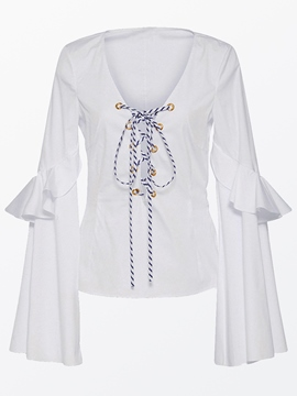 Ericdress Solid Color Lace-Up Frill Trumpet Blouse