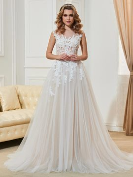 Ericdress Sexy Illusion Neckline Appliques Backless A Line Wedding Dress